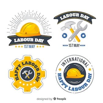 Collezione di badge giornata lavorativa disegnata a mano