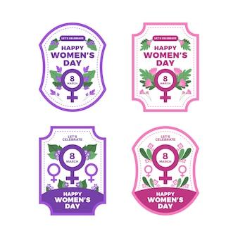 Collezione di badge giorno da donna con fiori