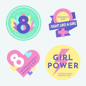Collezione di badge giorno da donna dal design piatto