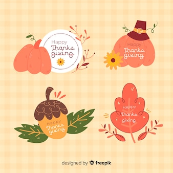 Collezione di badge giorno del ringraziamento disegnati a mano