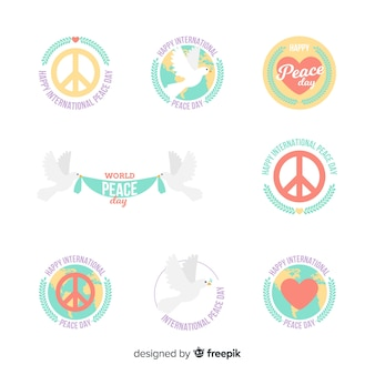 Collezione di badge giorno della pace con design piatto