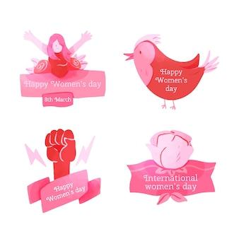 Collezione di badge giorno delle donne dell'acquerello