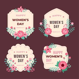 Collezione di badge giorno delle donne design piatto