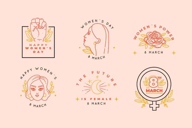 Collezione di badge giorno delle donne disegnate a mano