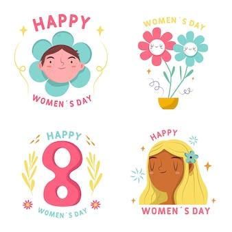 Collezione di badge giorno delle donne disegnati a mano