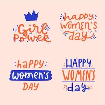 Collezione di badge giorno delle donne scritte
