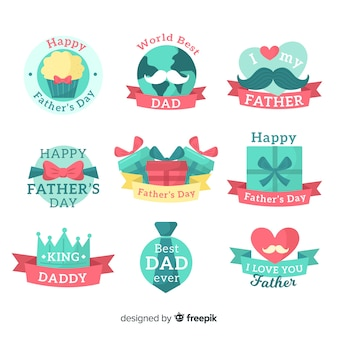 Collezione di badge giorno piatto padri