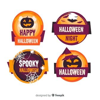 Collezione di badge halloween design piatto