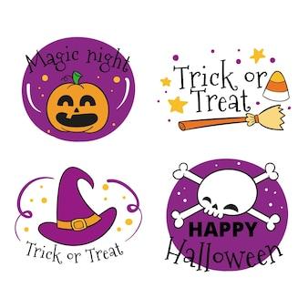 Collezione di badge halloween disegnata a mano