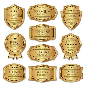 Collezione di badge in metallo dorato ed etichette di prodotto di qualità