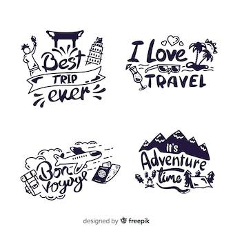 Collezione di badge lettering viaggio