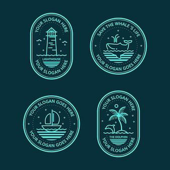 Collezione di badge logo mare lineare