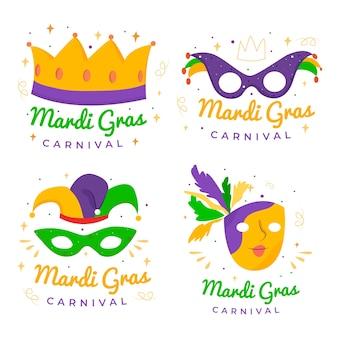 Collezione di badge mardi gras di corone e maschere