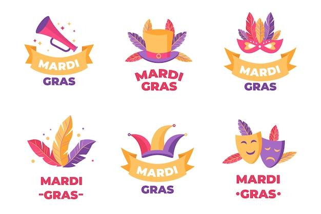 Collezione di badge mardi gras di piume e costumi