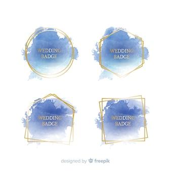 Collezione di badge matrimonio macchia acquerello