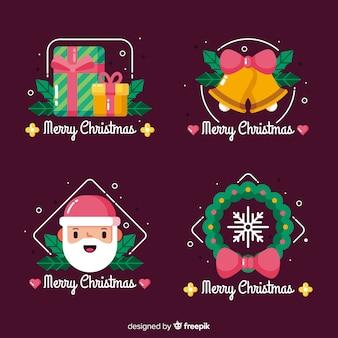 Collezione di badge natalizi piatta