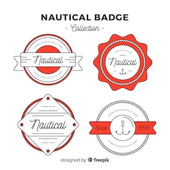 Collezione di badge nautico piatto