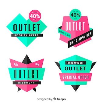 Collezione di badge outlet moderna con design piatto