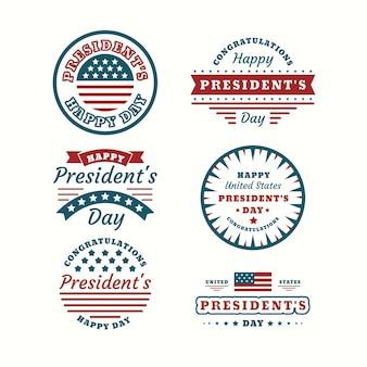 Collezione di badge per il giorno del presidente