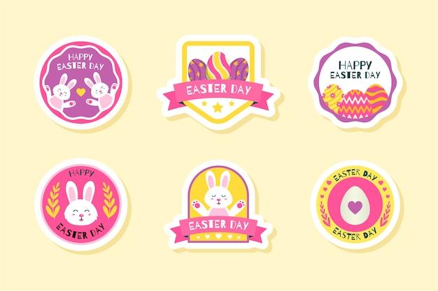Collezione di badge per il giorno di pasqua in design piatto