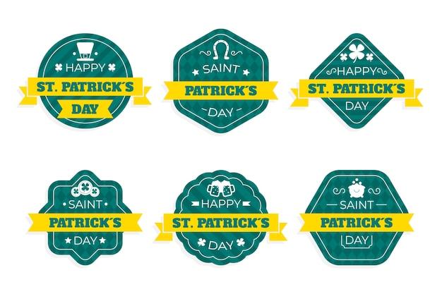 Collezione di badge per il giorno di san patrizio in design piatto