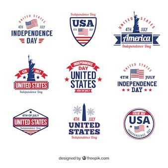 Collezione di badge per l'indipendenza degli usa