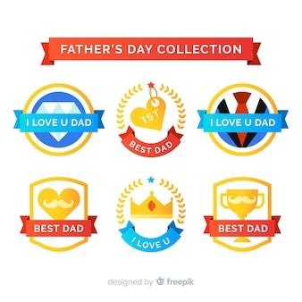 Collezione di badge per la festa del papà piatto