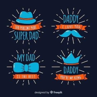 Collezione di badge per la festa del papà
