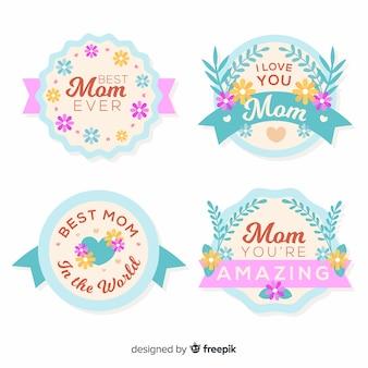 Collezione di badge per la festa della mamma color pastello