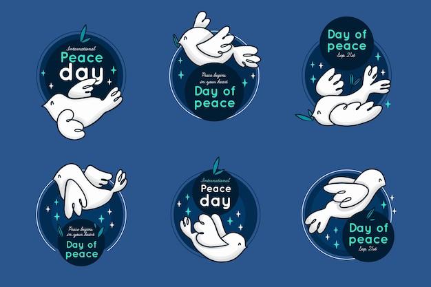Collezione di badge per la giornata internazionale della pace