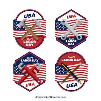 Collezione di badge per la giornata lavorativa classica con design piatto