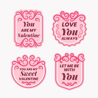 Collezione di badge per san valentino