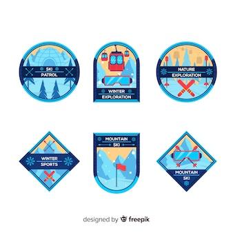 Collezione di badge per sport invernali