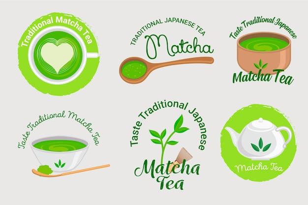 Collezione di badge per tè matcha