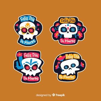 Collezione di badge piatto día de muertos