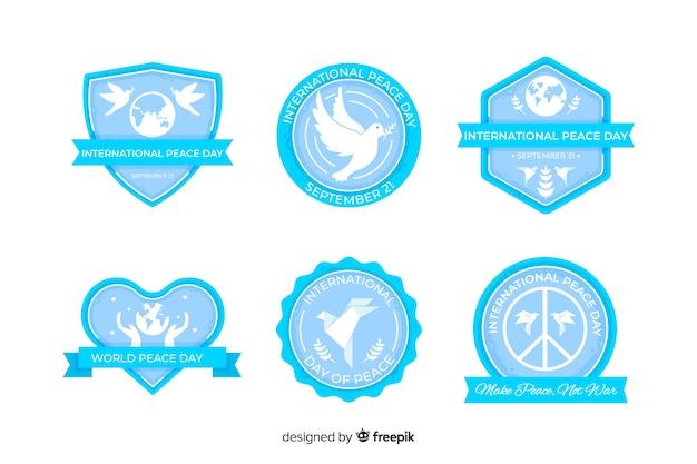 Collezione di badge piatto giorno della pace