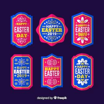 Collezione di badge piatto giorno di pasqua