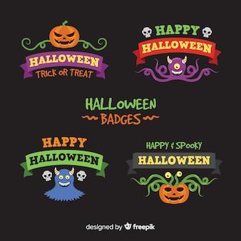 Collezione di badge piatto halloween
