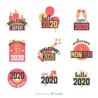 Collezione di badge piatto nuovo anno 2020