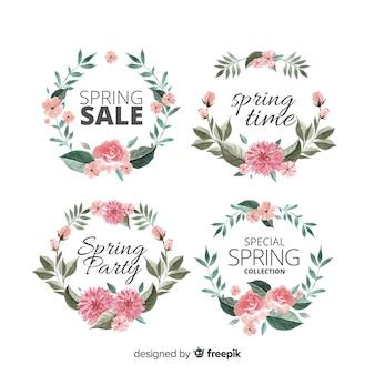 Collezione di badge primavera acquerello