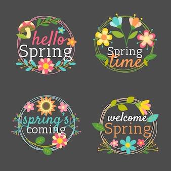 Collezione di badge primavera con cornice di foglie e fiori