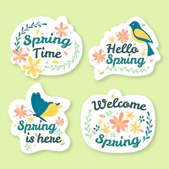 Collezione di badge primavera design disegnato a mano