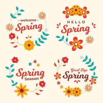 Collezione di badge primavera design piatto