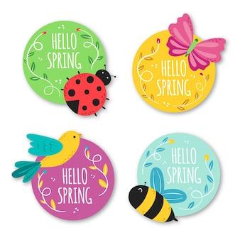 Collezione di badge primavera disegnata a mano
