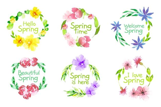Collezione di badge primavera disegno ad acquerello