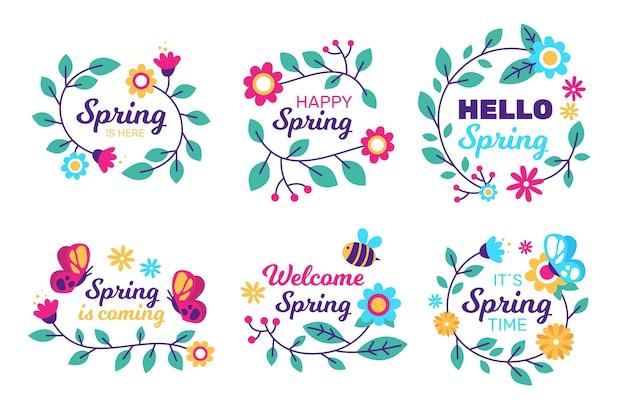Collezione di badge primavera in design piatto