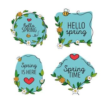 Collezione di badge primavera
