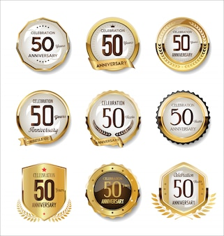 Collezione di badge retrò dorato anniversario