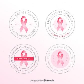 Collezione di badge rotondi con consapevolezza realistica del cancro al seno