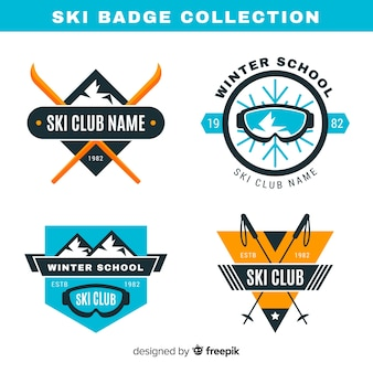 Collezione di badge sci e neve piatta